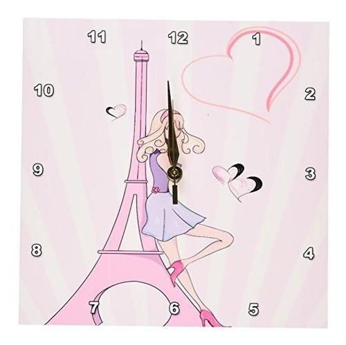 Imagen 1 de 3 de 3drose Dpp 106888 1 Chica Torre Eiffel Y El Reloj De Pared D
