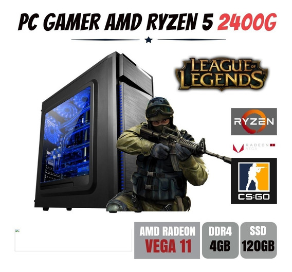 Pc Gamer Amd Ryzen 5 2400g 3.6ghz Ddr4 Ssd 120gb - Bg015