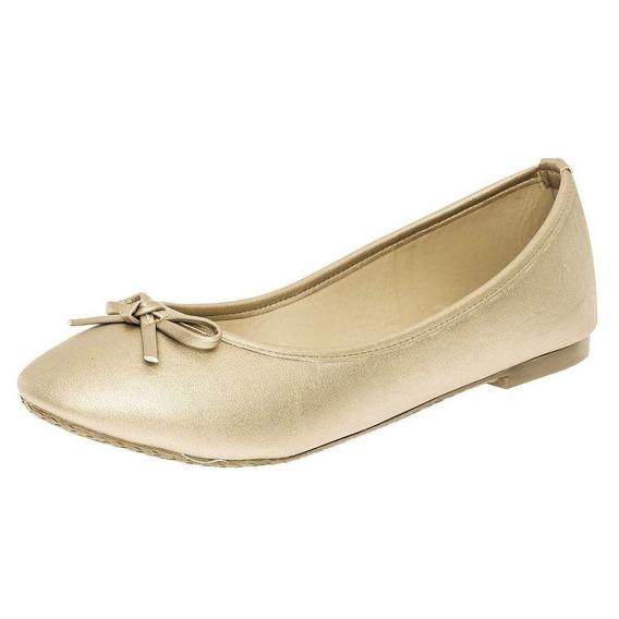 Zapato De Piso Flats Dama Sexy Girl 3004 Oro 22-26 T4