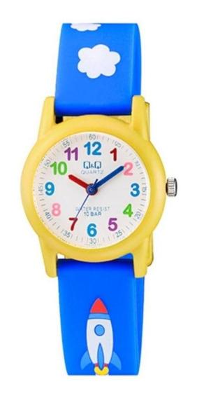 Relógio Infantil Masculino Azul E Amarelo Pulseira Nuvens