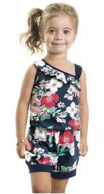 Macaquinho Infantil Menina Azul Marinho - Primavera Verão
