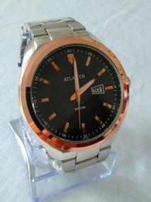 Relógio Dourado Prateado Masculino Atlantis G-3197 Original