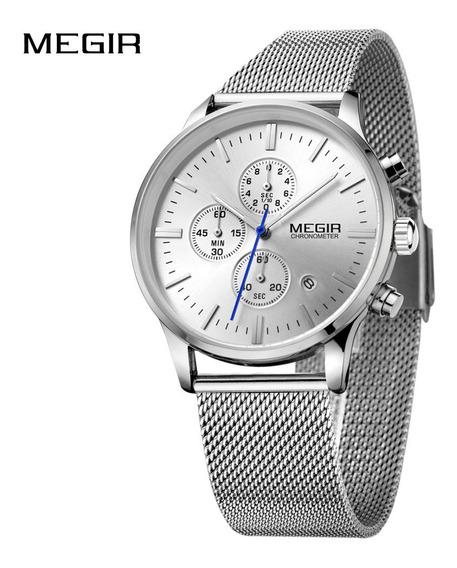 Megir High-end Steel Mesh Watchband Reloj De Pulsera De Nego