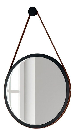Espelho Redondo Decorativo Adnet Escandinavo Com Alça De Couro 54 Cm Nix - Lyam Decor