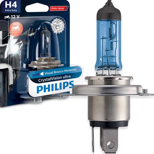 Imagem 1 de 6 de Lâmpada Philips Crystal Vision Moto H4 35/35w Super Branca