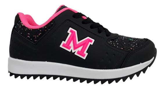 Tênis Infantil Menina Mini Pé Mp1819 Preto Pink