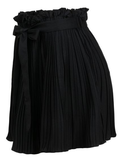 Falda Plisada Mini De Vestir, Formal, Oficina, Casual, Lazo.