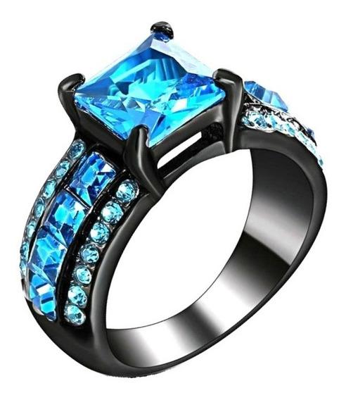 Anel Feminino Pedra Cristal Água Marinha Azul 513 P