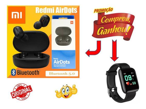 Kit Fone Ouvido Redmi Air Dots Sem Fio Brinde Smartwatch D13