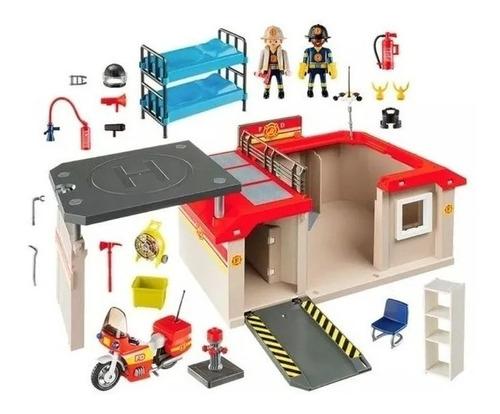 Playmobil Estacion Bomberos Portatil Int 5663 Orig Intek