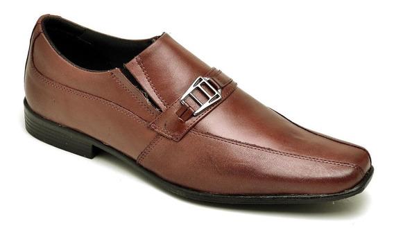 Sapato Social Masculino Em Couro Vinho Ref 9416