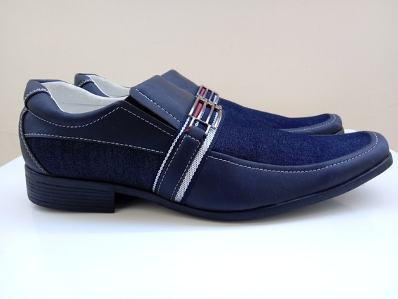 Sapato Social Masculino Jeans Azul