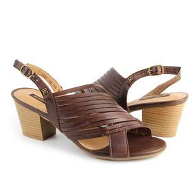 Sandálias Salto Médio Grosso Pinhão Couro Verão Perlatto