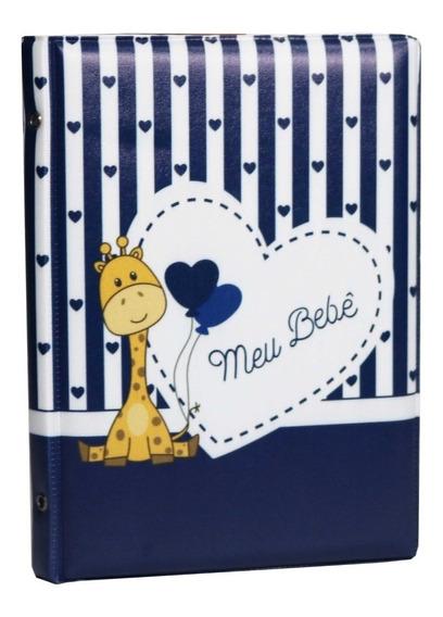 5 Álbum Capa Meu Bebê Girafa Azul Para 200 Fotos 15x21
