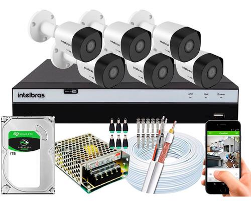 Kit Cftv 6 Cameras Vhd 3230b G4 1080p 2mp Intelbras Dvr 3108