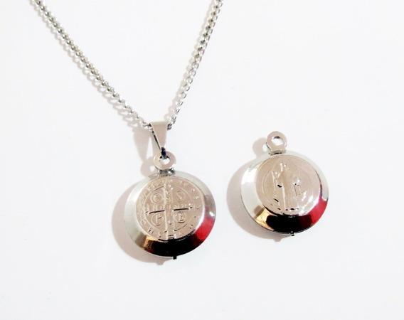 Colar Medalha De São Bento Aço Inox 60 Cm