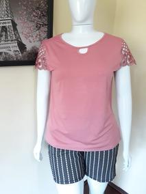 Conjunto Feminino Plus Size Shorts + Blusa Verão 46 Ao 54
