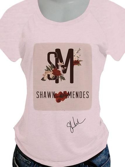 Camiseta Babylook Shawn Mendes Opcoes De Costas Blusa737