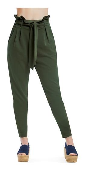Pantalon Dama Stretch Verde Militar Con Ajuste En Cintura