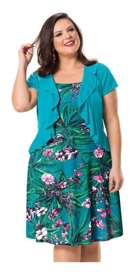 Conjunto Vestido Floral + Bolerinho Tamanho Gg