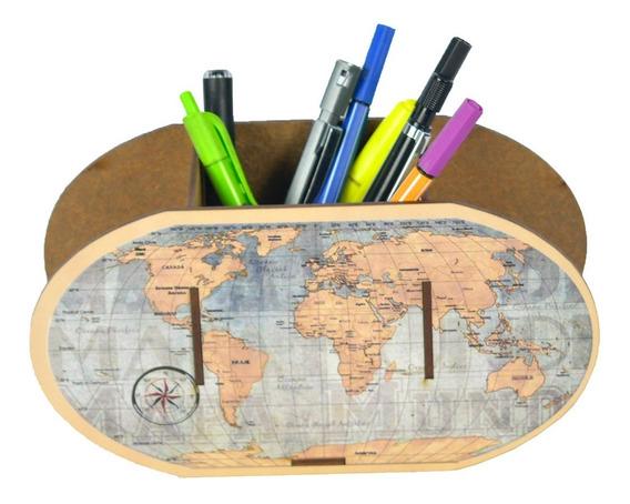 Porta Canetas E Lápis Decorativo Mdf - Mapa Mundi