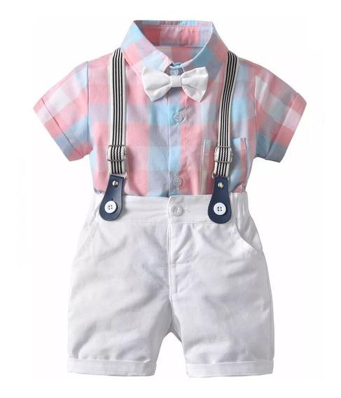 Traje Formal Para Bebe Short Tirantes Bonito