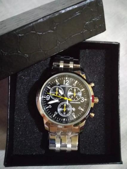Relógio Masculino Grande Prata - Frete Grátis