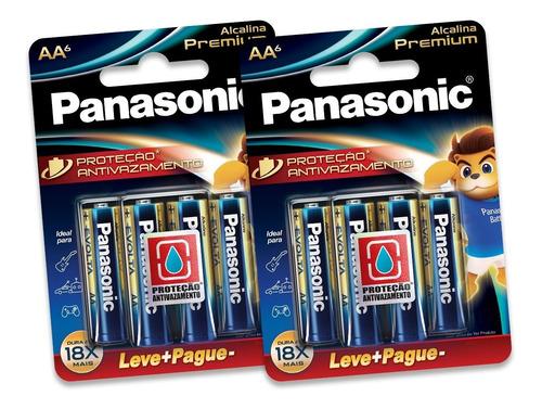 12 Pilhas Alcalinas Panasonic Premium  Aa