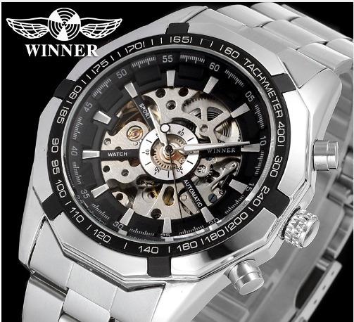 Relógio Winner Skeleton Homem Movimento Automatico