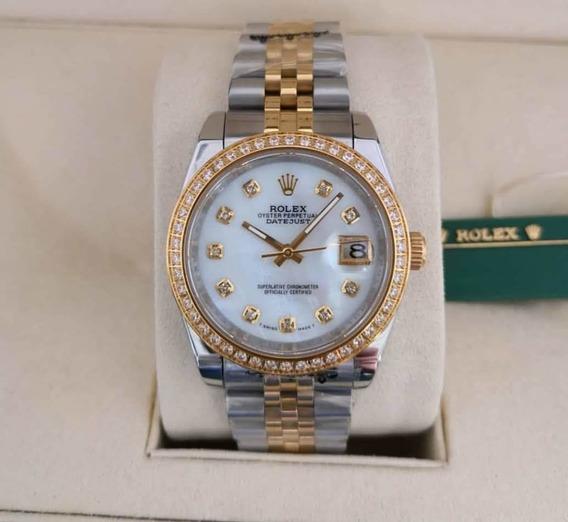 Relógio Mod Lady Datejust 36mm Bisel Pedras Presidente Top