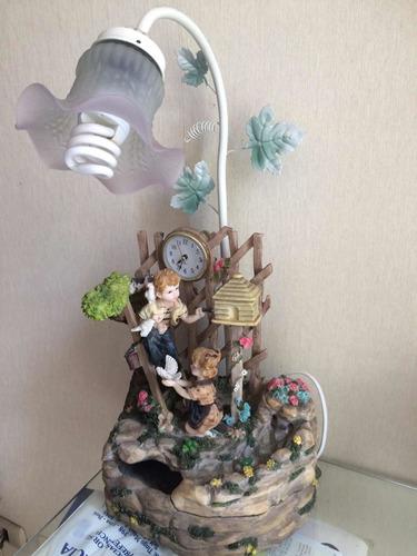 Fuente De Agua ,lampara, Con Reloj Nuevo A Corriente