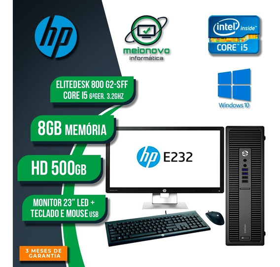 Desktop Hp Elitedesk 800 G2 - I5 3.2g 8g 500g + Monitor 23