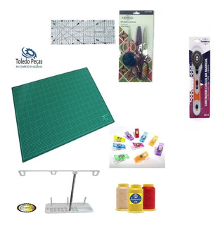 Kit Costura Patchwork Regua Base Corte + Acessorios Praticos