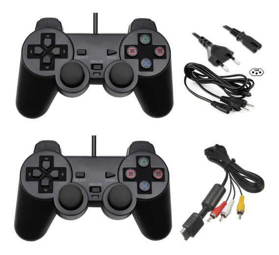 Kit Ps2 2 Controles +cabo Força +cabo Av Playstation2 Brinde
