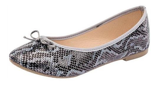 Zapato De Piso Dama Balerina Sexy Girl 3019 Gris 22-26 T4