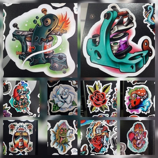 10 Calcomania Sticker Maquina Tatuar Tattoo Kaiserstore