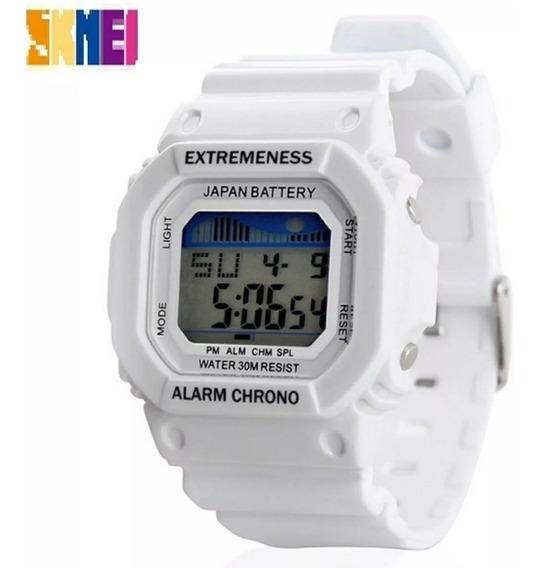 Relógio Feminino Skmei 6918 Branco Quadrado Original Barato