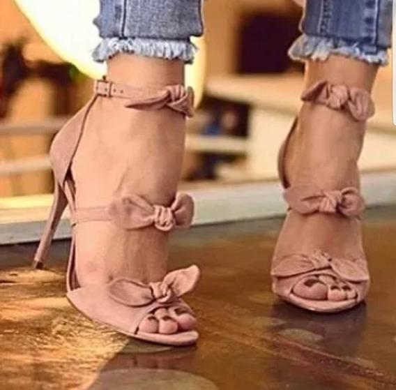 Sandália Laços Delicada - Salto 11 Ou 7 Cm - Várias Cores