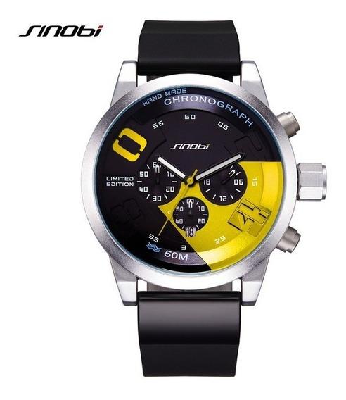 Relógio Pulso - Sinobi Cronômetro Aço Inox 50mm