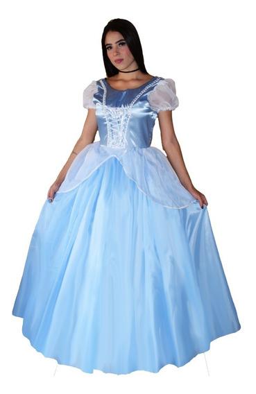 Vestido Da Princesa Cinderela Adulto Luxo Com Luva