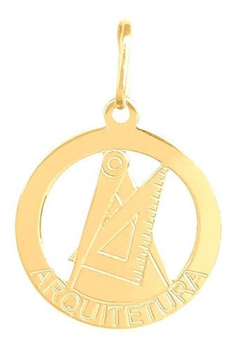 Pingente Ouro 18k Profissão Arquitetura 15mm