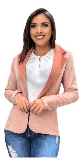 Blazer Casaco Em Suede Feminino Outono Inverno Moda