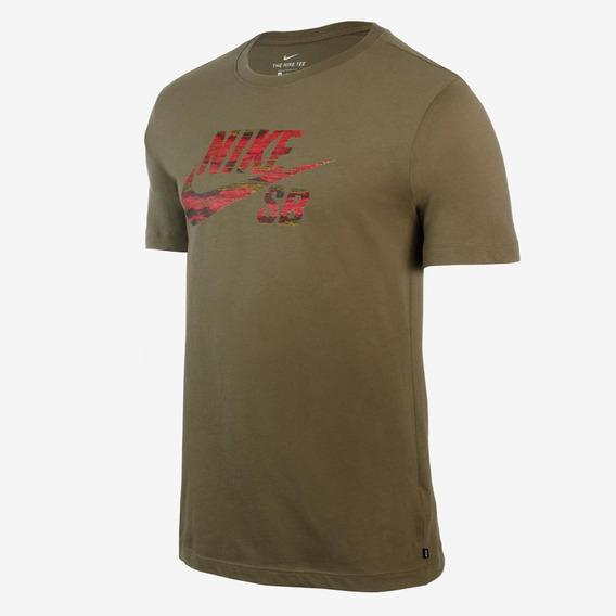 Nike Sb Tee Remera Verde Militar Logo 222 Hombres