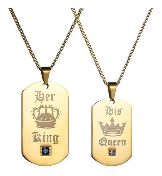 Conjunto 2 Colares Namorados Casais Ouro Aço Zircônias C440