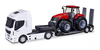 Miniatura Caminhão Iveco Com Trator Case - Usual Brinquedos