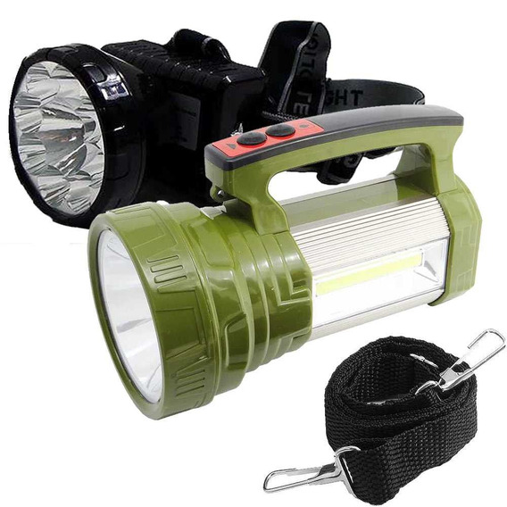 Kit Lanterna De Cabeça Eco-161+lanterna T6 Ws-573