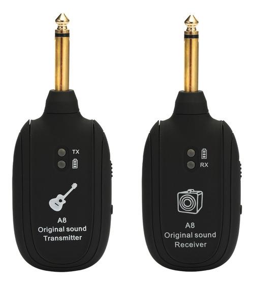 A8 Uhf Conjunto Receptor Transmissor Guitarra Sem Fio