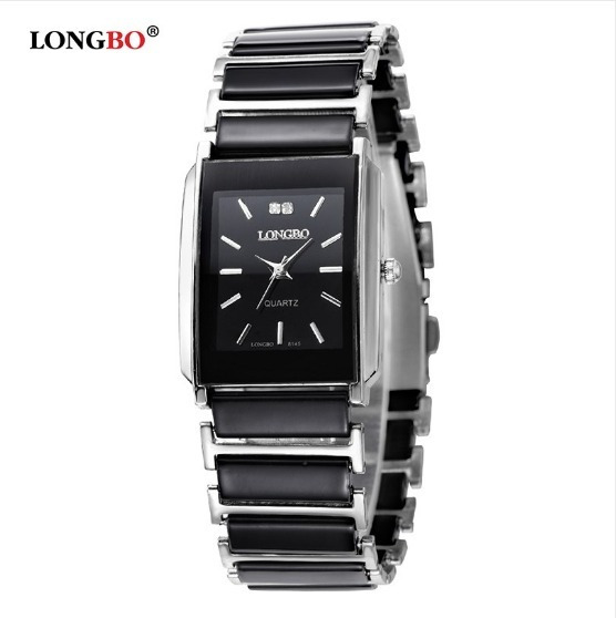 Relógio Feminino Analógico Aço Longbo Preto Com Prata