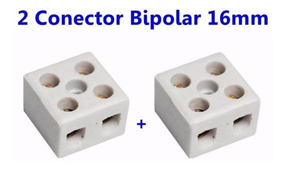 Conector Louça Porcelana P/ Ducha Bipolar Bifasico 16mm 2un