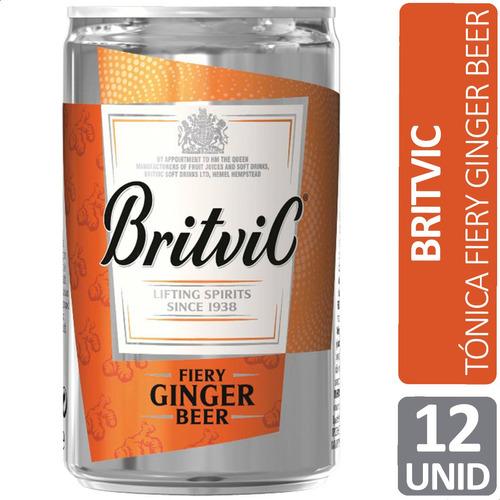 Imagen 1 de 8 de Britvic Fiery Ginger Beer Tonica Jengibre Lata Pack X12 Unid